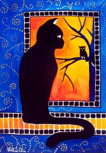 Featured 3 times - Insomnia - Cat and Owl - Cat Art by Dora Hathazi Mendes