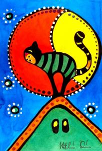 The Cat And The Moon cat painting by Dora Hathazi Mendes