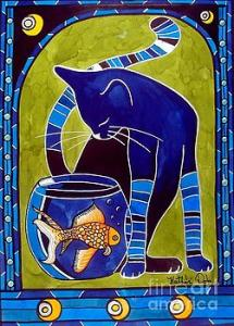 Featured 3times - Blue Cat with Goldfish by Dora Hathazi Mendes