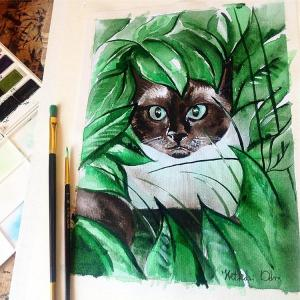 Cats of Karavella Featuring Peek a Boo Siamese Cat Painting