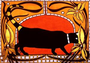 Art Nouveau Black Cat in Cats of Karavella