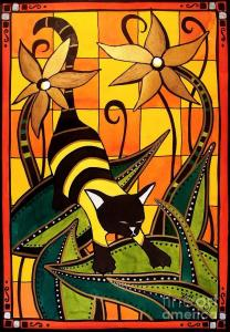 Featured 4 times  Kitty Bee - Cat Art by Dora Hathazi Mendes