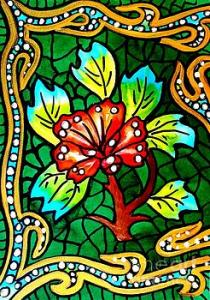 Featured 3 times  Green Stained Glass with Flower by Dora Hathazi Mendes