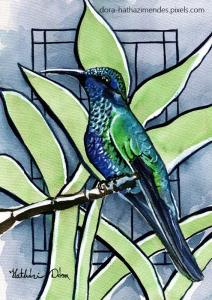 Blue Green Hummingbird Featured in Karavella Atelier