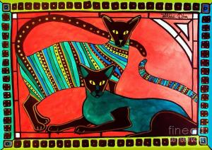 Featured 5 times - Legend of the Siamese - Cat Art by Dora Hathazi Mendes