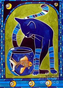 Sold Blue Cat With Goldfish Metal Print