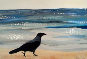 Hooded Crow at the Black Sea by Dora Hathazi Mendes