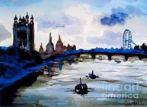 Featured London Blue painting by Dora Hathazi Mendes