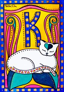 Featured 3 times Peace and Love Cat Art by Dora Hathazi Mendes
