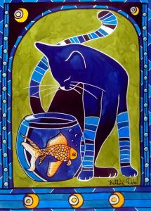 Blue Cat with Goldfish Featured in Cats of Karavella