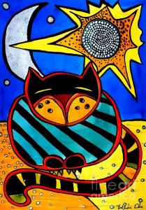Featured Sun and Moon - Honourable Cat - Art by Dora Hathazi Mendes