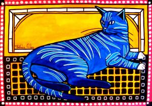 Featured Cat Art Blue Tabby by Dora Hathazi Mendes